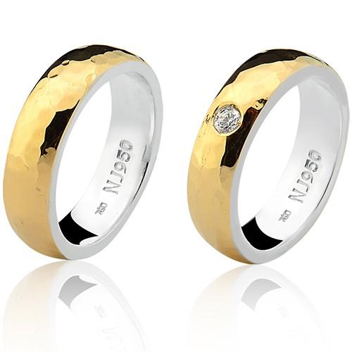 Par de Aliança Casamento/Noivado Mista em Ouro 18k/750 e Prata 950 AL199