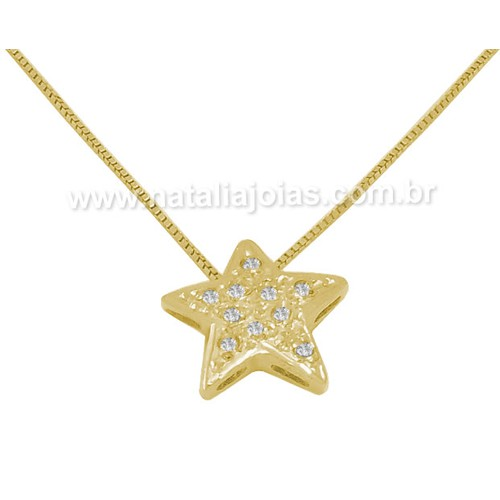 Corrente com Pingente e diamantes em Ouro 18k/750 CPO37
