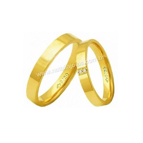 Alianças de Ouro Anatomica com Diamantes 18k/750 AE143