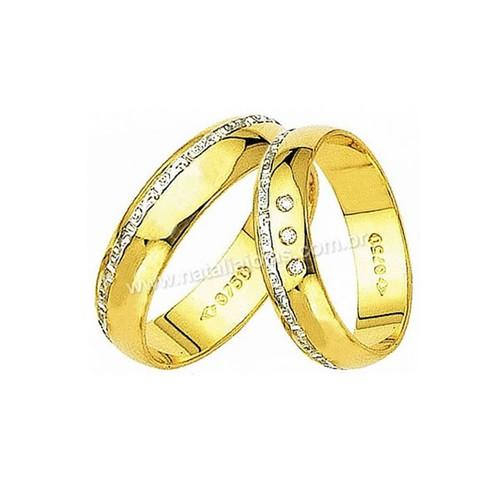 Alianças de Ouro 18k/750 com Diamantes AE17