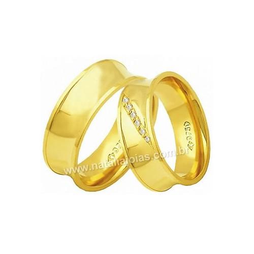 Alianças de Ouro Anatomica com Diamantes 18k/750 AE162