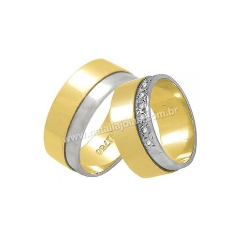 Alianças de Ouro 18k/750 com Diamante AL51