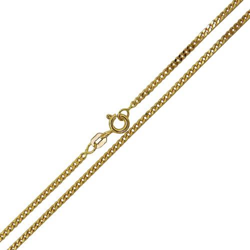 Corrente Grumet em Ouro Facetada Fina 60 cm