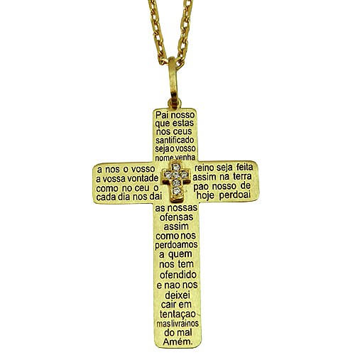 Crucifixo Oração do Pai Nosso em Ouro 18K cravejado com Zircônia