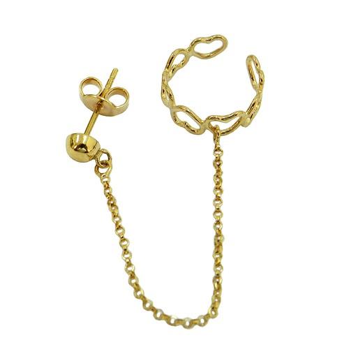 Brinco Ear Cuff em Ouro 18k com corrente