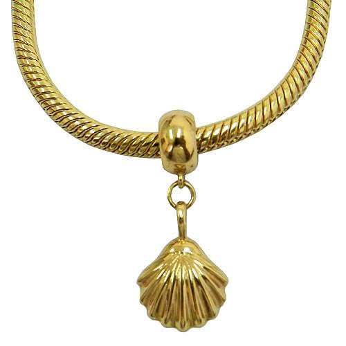Pingente de Concha em Ouro 18k para pulseira estilo Pandora