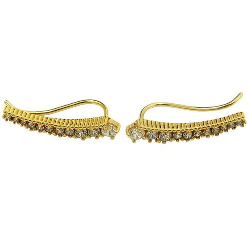 Brinco em Ouro 18k Ear Cuff com Zircônias Brancas