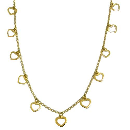 Gargantilha em Ouro 18k Coração Vazado