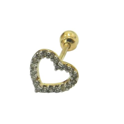 Piercing de Cartilagem em Ouro 18k Coração Vazado com Brilhantes