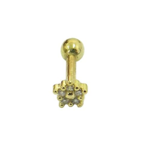 Piercing de Orelha em Ouro 18k Flor com Zircônias