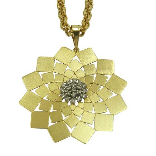 Pingente em Ouro 18k Mandala Grande com Brilhantes