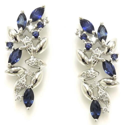 Brincos em Ouro 18K com Diamantes e Safiras Azuis