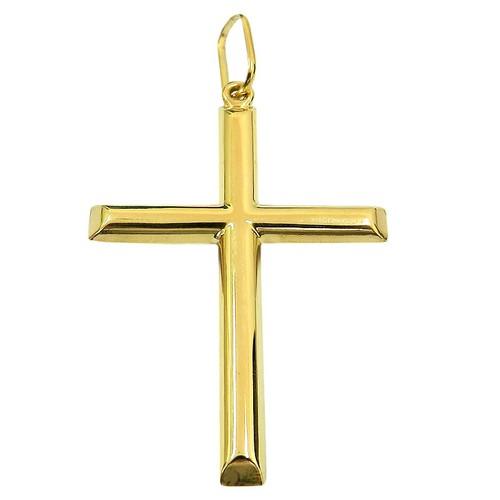 Crucifixo Liso de Ouro 18K Grande