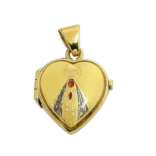 Relicário de Coração Nossa Senhora Aparecida Ouro 18K