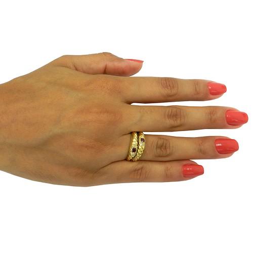 Anel de Ouro Duplo com Rubis e Brilhantes
