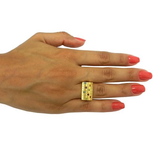 Anel de Ouro 18k 0,750 com Pedras Brasileiras