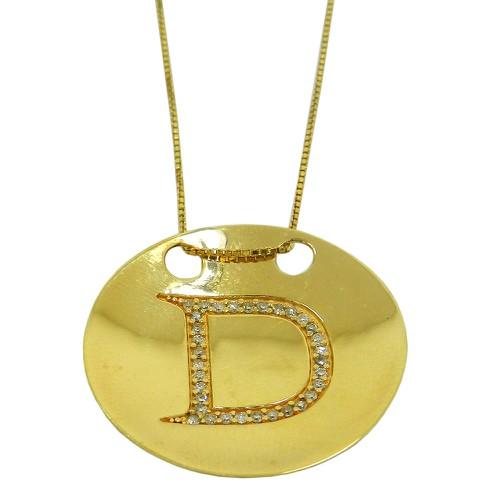 Pingente de Ouro Letra D com Brilhantes
