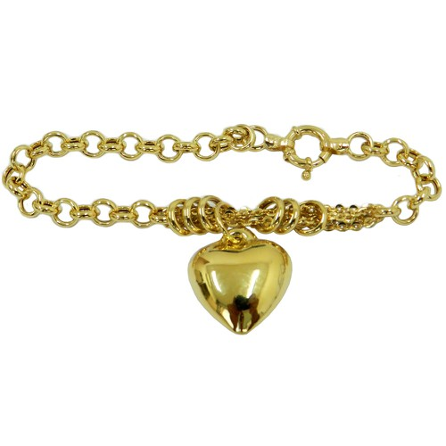 Pulseira em Ouro 18k Coração Pequeno