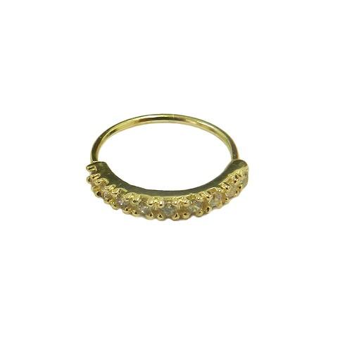 Piercing de Ouro 18K Argola com 9 Zircônias