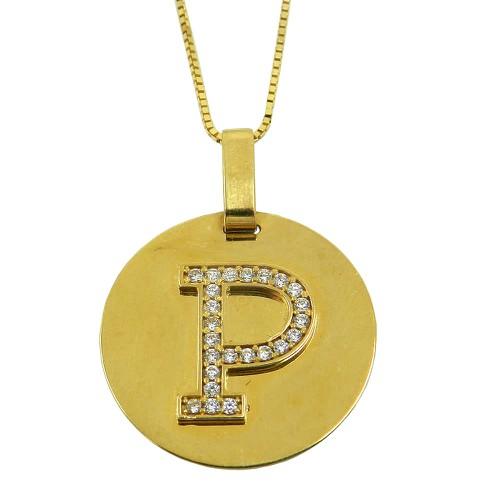Pingente Letra em Ouro 18k com Zircônias