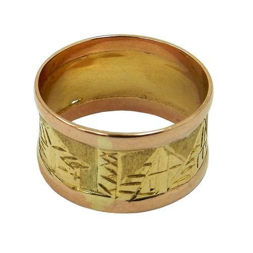 Anel em Ouro 18k Largo com Desenhos Egípcios
