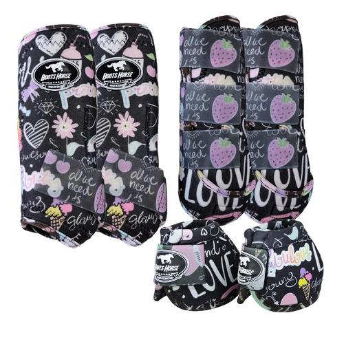 Kit Proteção Estampa Love Completo - Boots Horse - Cavalaria Shop