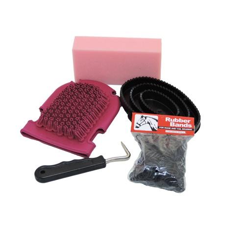 Conjunto de Escovas Importadas para Cavalo Rosa - Cavalaria Shop