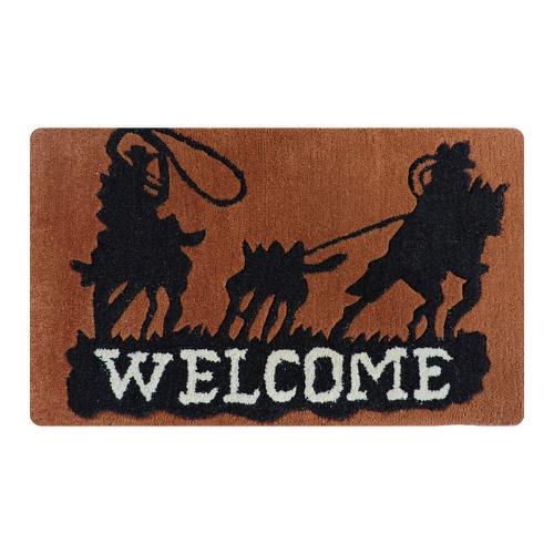 Tapete Capacho Decorativo Welcome - Boots Horse - Cavalaria Shop