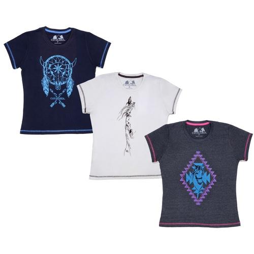 Kit 3 Camisetas CAVALARIA Básicas - Preta/Marinho/Branca
