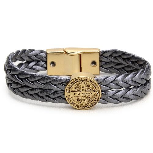Pulseira Trançada Medalha São Bento Dourada Boots ... - Cavalaria Shop