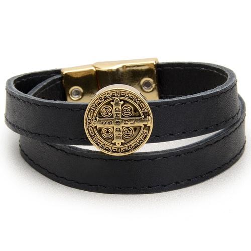 Pulseira Couro Medalha São Bento Dourada Boots Hor... - Cavalaria Shop