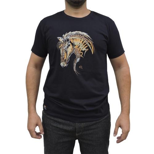 Camiseta CAVALARIA Azul Marinho com detalhes Mescl... - Cavalaria Shop