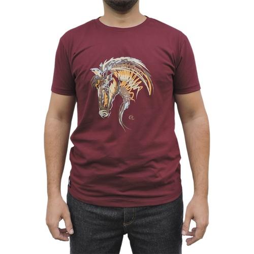 Camiseta CAVALARIA Bordo com detalhes Mesclado - Cavalaria Shop