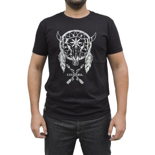 Camiseta CAVALARIA Preta com detalhes Gelo - Cavalaria Shop
