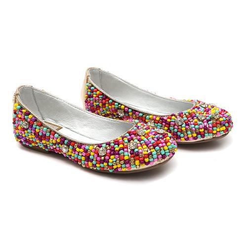 Sapato de Miçangas Colorido Feminino Infantil Gats - GATS