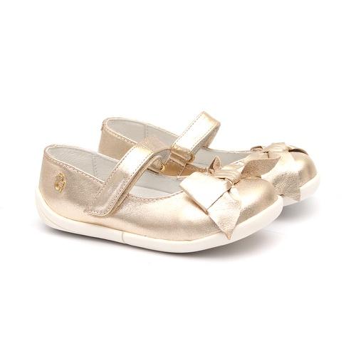Sapato Metalizado Ouro Light Laço - GATS