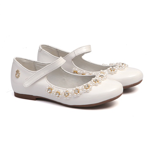 Sapato Feminino Bordado Verniz Branco - GATS