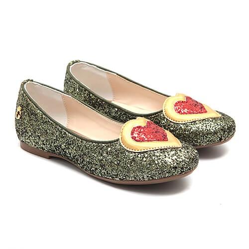 Sapatilha Glitter Coração Verde - GATS