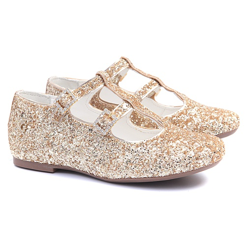 Sapatilha de Glitter Dourada Infantil Gats - GATS