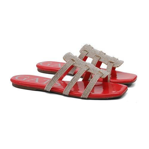 Sandália Rasteira Slide Vermelha - GATS