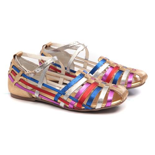 Sandália Tiras Coloridas Metalizada Gats - GATS