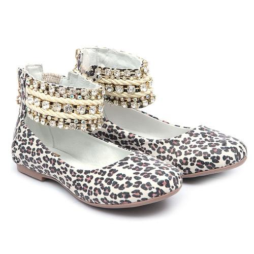 Sapato Bordado de tornozeleiras Animal Print Infan... - GATS