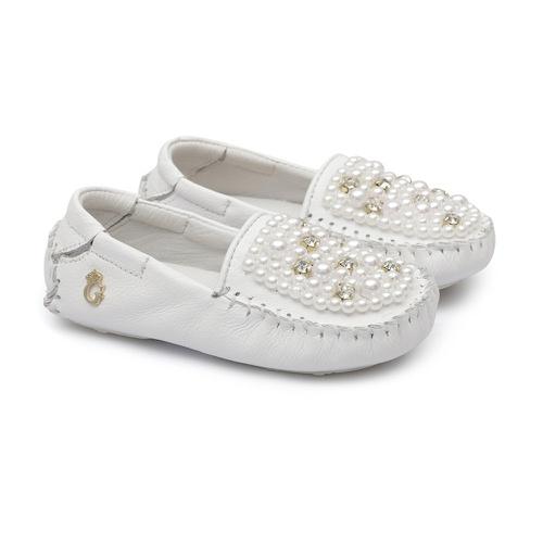 Mocassim Bebê Bordado Branco - GATS