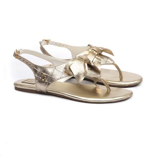 Sandália Laço Croco Dourado - GATS