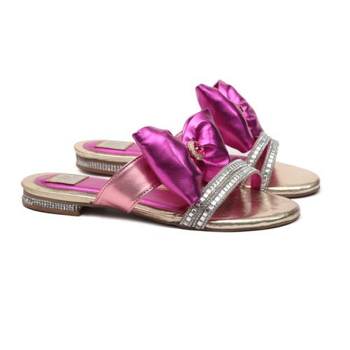 Flat de Laço e Strass Pink Infantil Gats - GATS