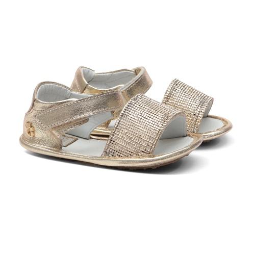 Sandália Dourada Strass Bebê Gats - GATS