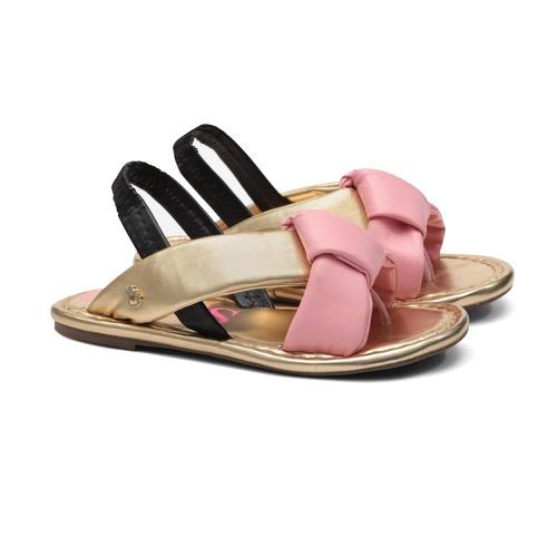 Sandália de Laço Dourado com Rosa Infantil Gats - GATS