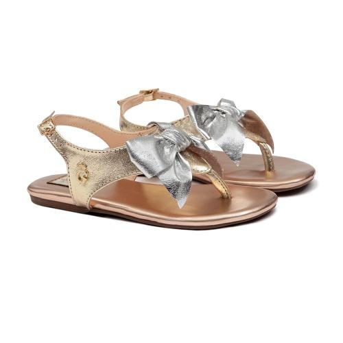 Sandália de Laço Dourada Metalizada Infantil Gats - GATS