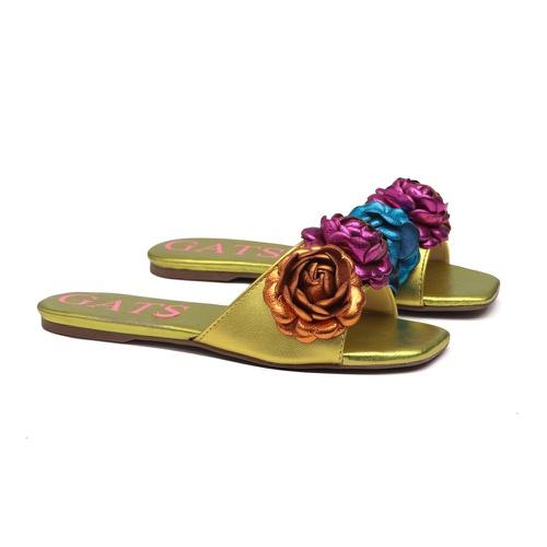 Slide Flatform Flores Amarelo Metalizado Infantil ... - GATS