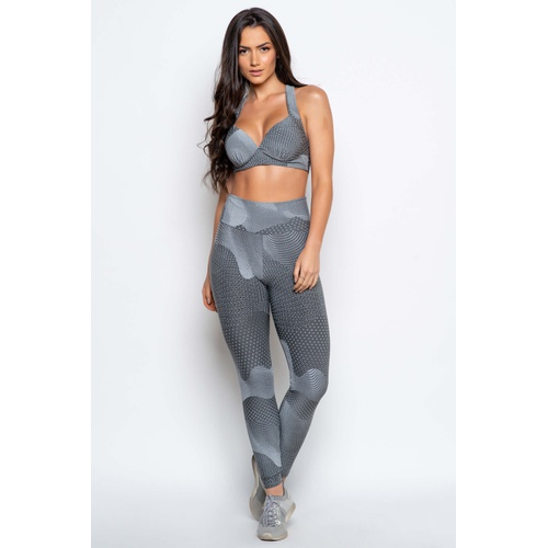 Calça Legging Fitness Infinity Cinza - 21014 - Korefit